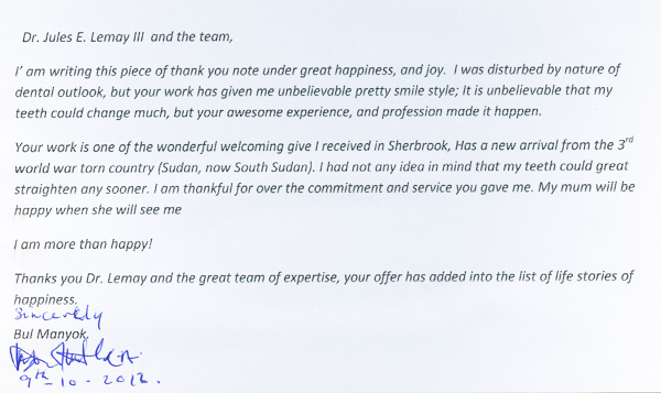Orthodontic testimonial following treatment by the Lemay orthodontists in Sherbrooke