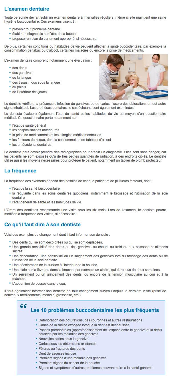examen buccodenaire chez votre dentiste généraliste, Ordre des dentistes du Québec