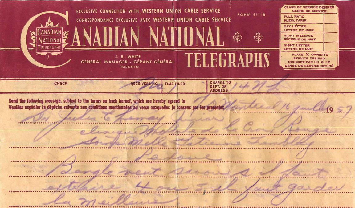 Télégramme reçu par Dr Jules E. Lemay orthodontiste en 1957 pour l'extraction de dents pour un traitement d'orthodontie.